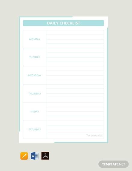 daily checklist template