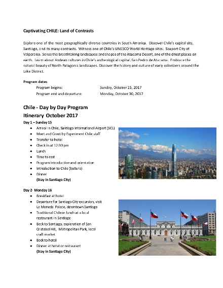 day by day program itinerary