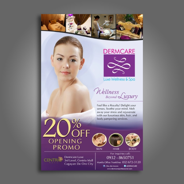 dermcare wellness and beauty spa flyer