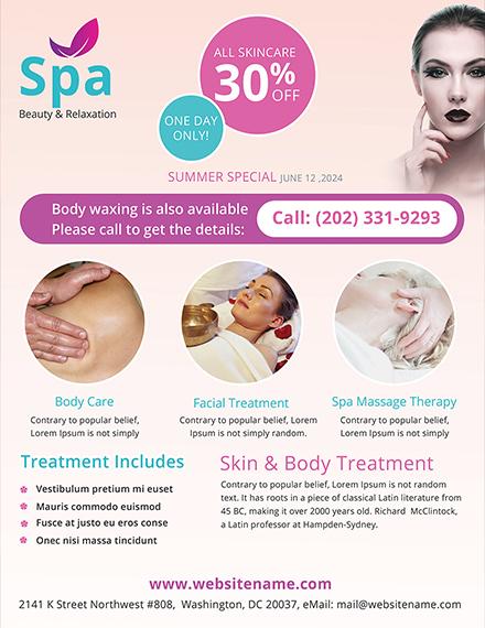 downloadable beauty spa flyer