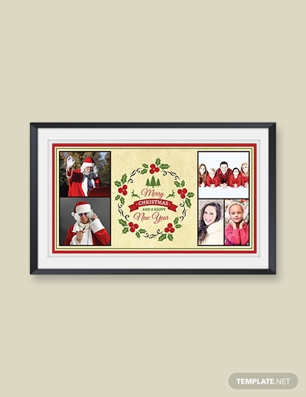 elegant christmas and new year photo card