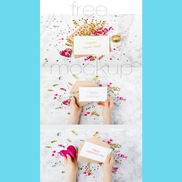elegant happy new year greeting card mock up
