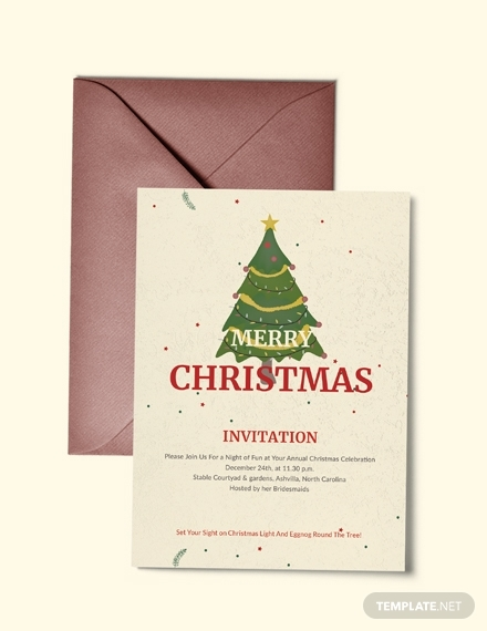 elegant merry christmas invitation