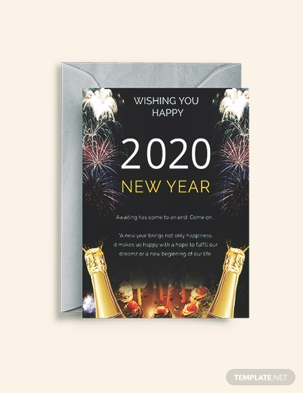 elegant new year greeting card sample