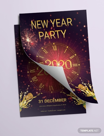elegant new year party flyer design