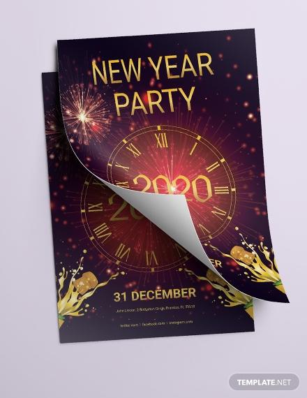 elegant new year party flyer design