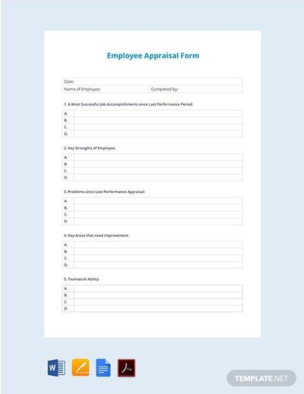employee appraisal form