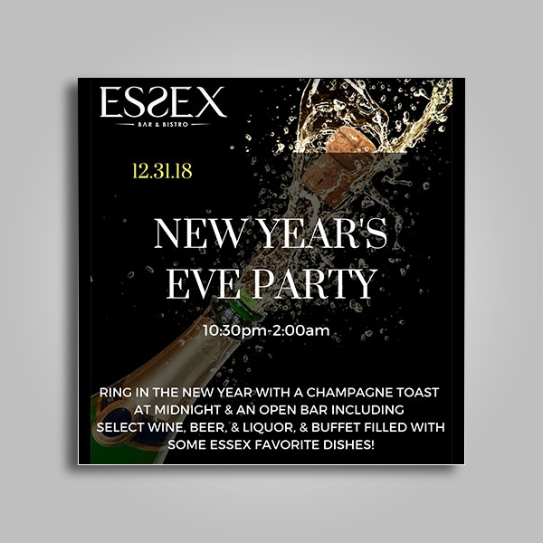 essex new years eve party poster