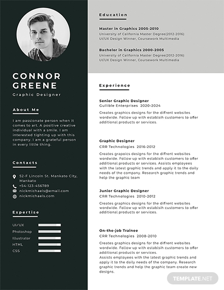 experience resume template design