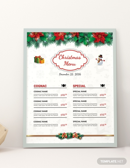 free christmas brochure menu design