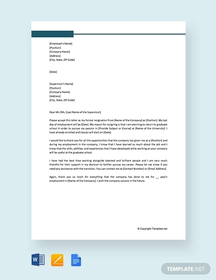 free company employee resignation letter