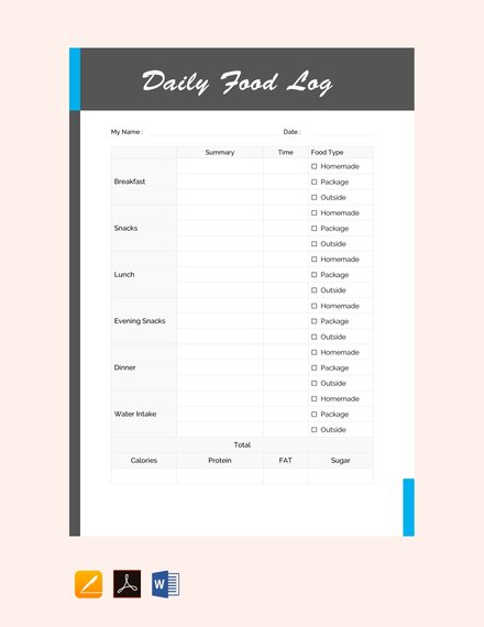 free daily food log sheet template