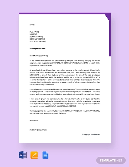 free employee resignation letter to manager