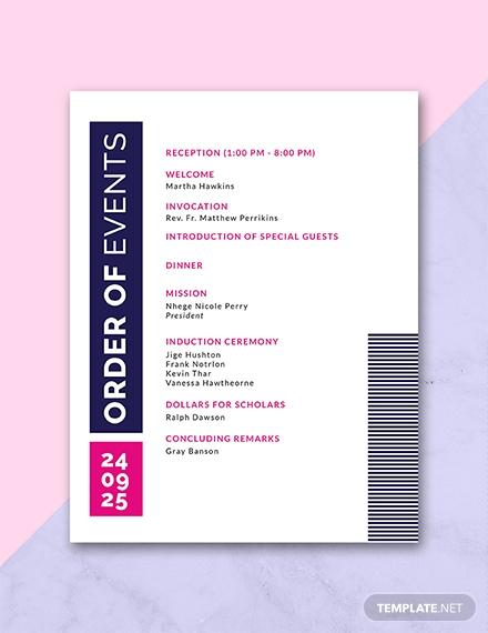 free event program sample