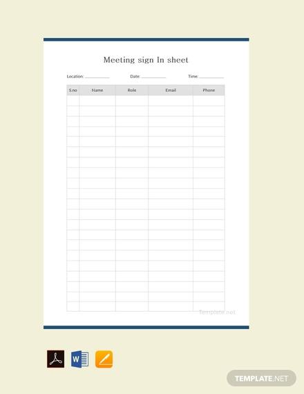 free meeting sign in sheet sample