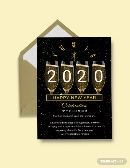 free new year greeting card template