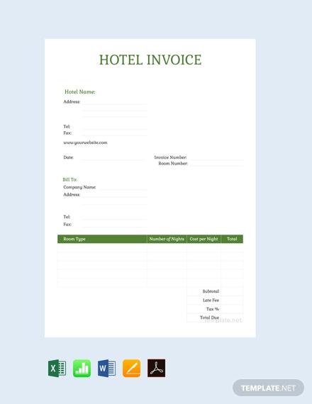 free sample hotel invoice template