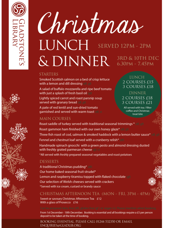 gladstones library christmas menu