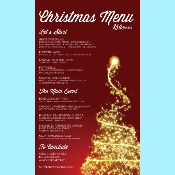 greystone steakhouse christmas menu