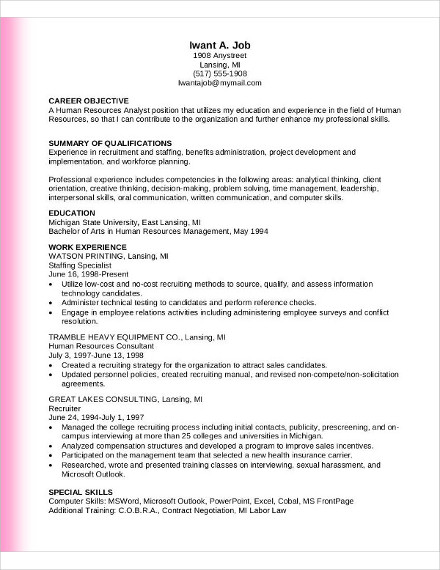 Human Resource Analyst Resume