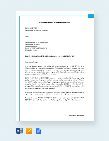 internal promotion recommendation letter