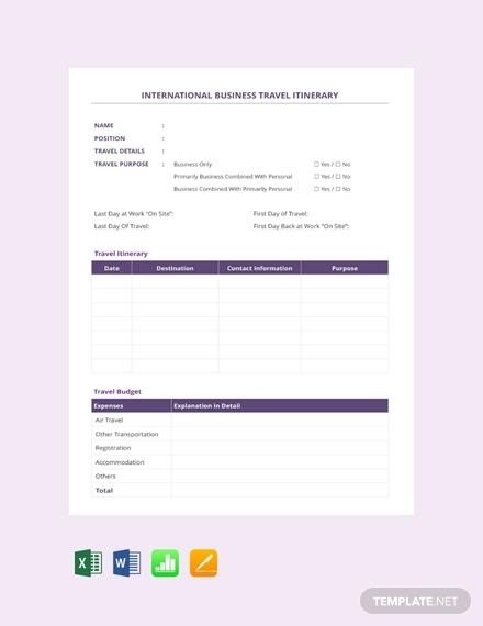 international business travel itinerary