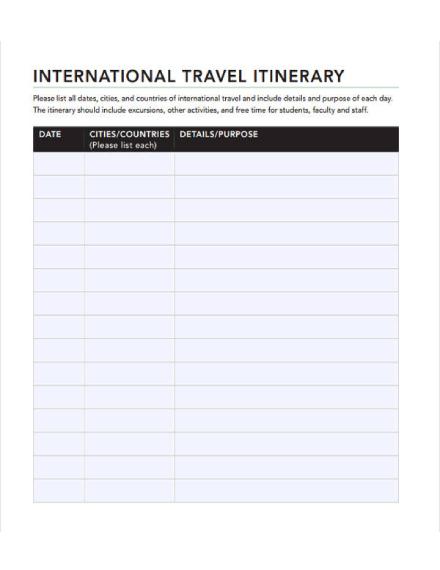 international travel itinerary
