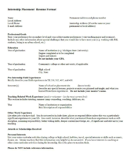 internship placement resume format