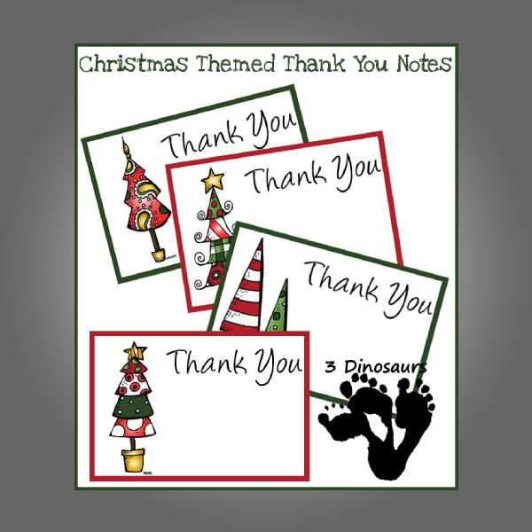 kids christmas themed thank you card