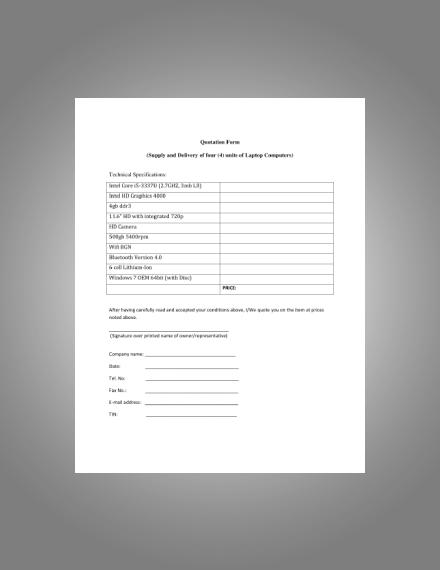 laptop computer quotation form