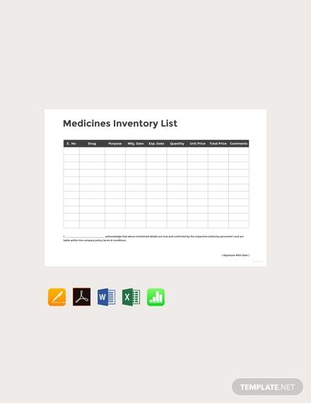 medicine inventory template