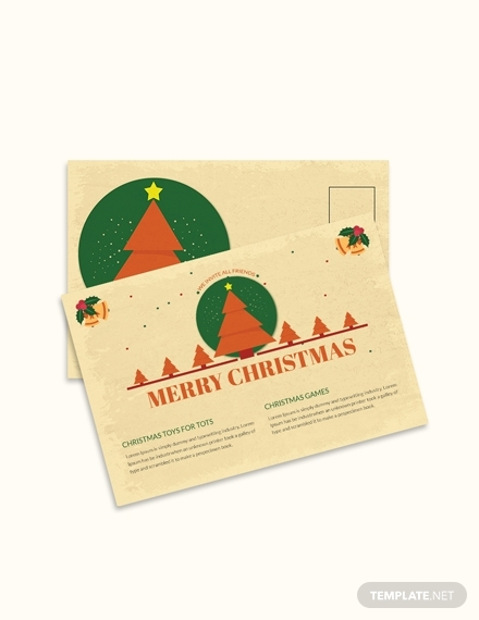 merry christmas invitation postcard template