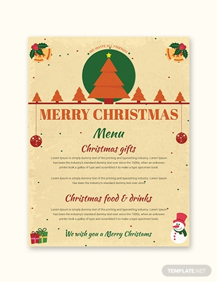 merry christmas menu template sample