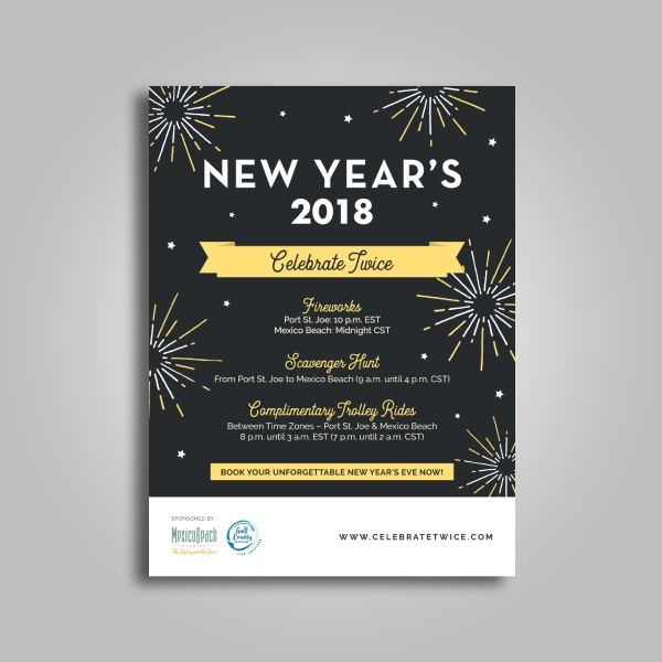 mexico beach new year fireworks poster