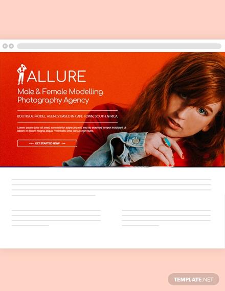 model agency website header
