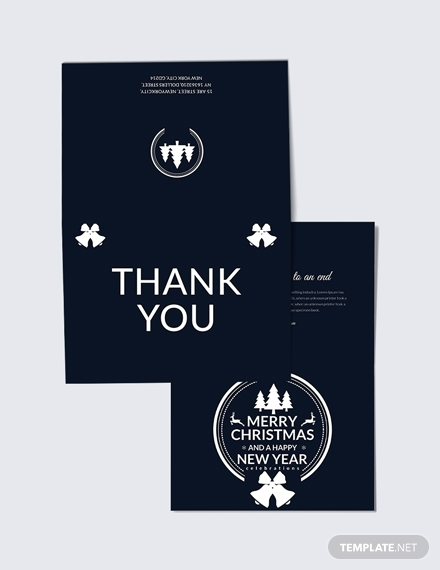 modern christmas and new year thank you card