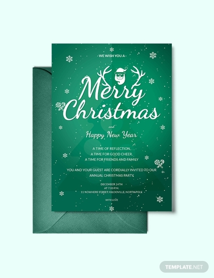 modern merry christmas invitation
