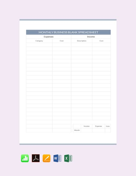 monthly business blank spreadsheet design