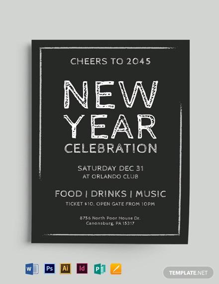 new year chalkboard flyer template