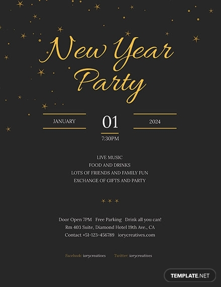 new year holiday party poster