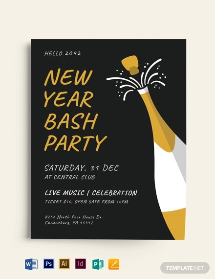 new year party bash flyer template