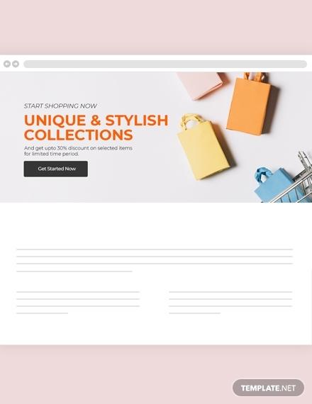online shopping website header