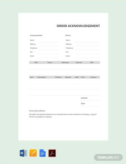 order acknowledgement