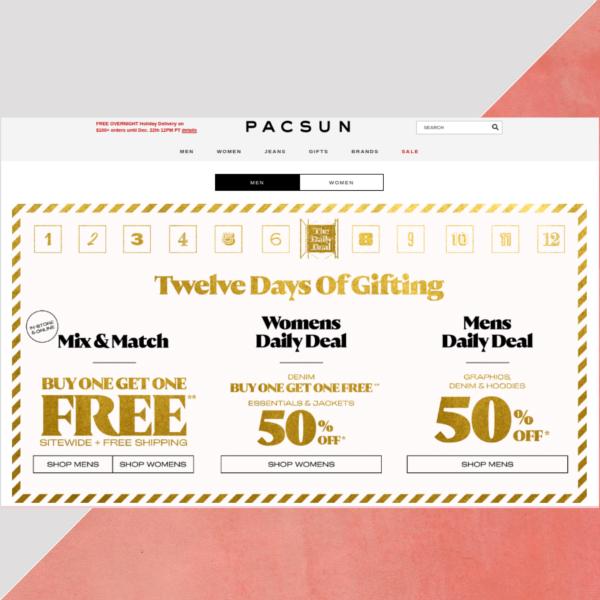 pacsun website header