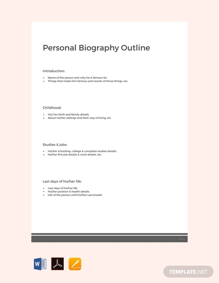 personal biography outline