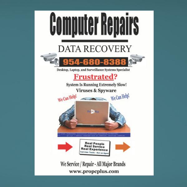 propcplus computer center repair services flyer
