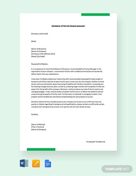 reference letter for finance manager