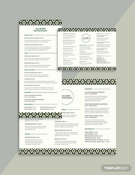 restaurant christmas menu template1