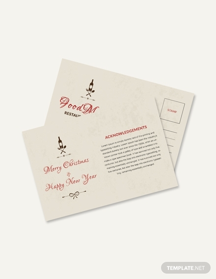 restaurant christmas postcard design