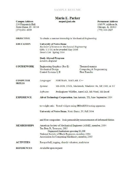resume sample1